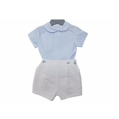 BNWT Traditional Spanish Baby Boys Baby Blue and White Romper Set 12, 18  Months