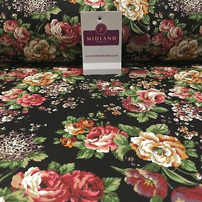 """Black Vintage floral shabby chic 100% cotton printed Fabric 44"""" Wide M809 Mtex"""