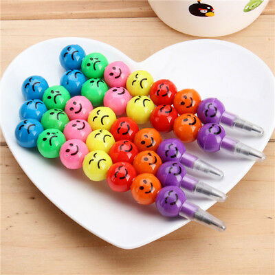 5pcs Smile Face Pencils  Children Round Ball Shape Cute Pencil Study Stationary
