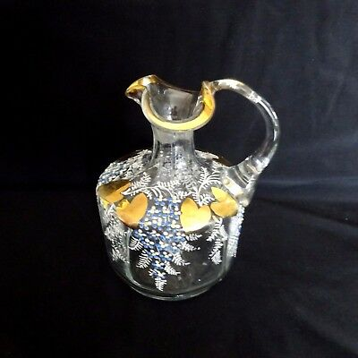 Vintage Pitcher Glass Painted French Art Nouveau Blue Gold Antique.