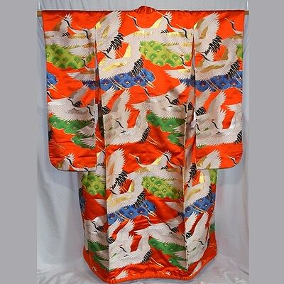"Vintage Japanese Wedding Kimono Robe Uchikake Bridal Wear ""Flock of Cranes"""