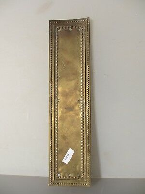 Antique Brass Finger Plate Push Door Handle Vintage Beading Old