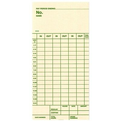 Time Cards, Semi-Monthly, Top-feed Form 85330, Replaces Simplex Form 1950-9161