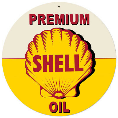 Vintage Style Steel Sign Yellow Premium Shell Oil 28 x 28