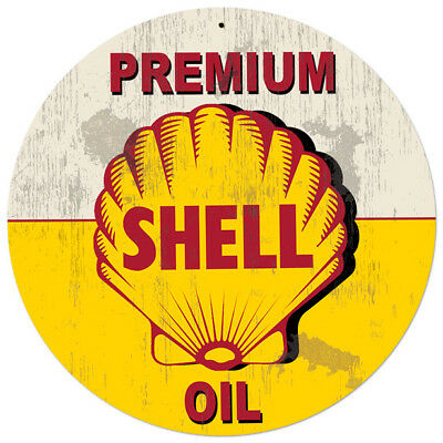 Vintage Style Steel Sign Yellow Premium Shell Oil Grunge 28 x 28