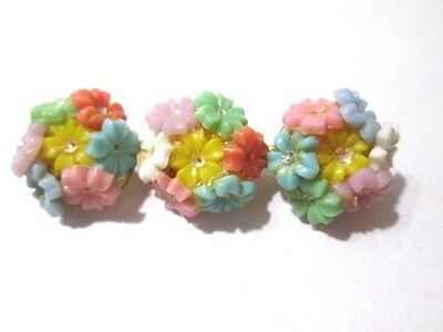 Pin Vintage Plastic Cluster Of Flowers Brooch Three Small Bouquets Celluloid