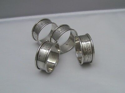 John Rose Birmingham England 1926 Sterling Silver Napkin Rings / Set of 4