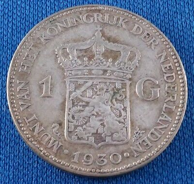 1930 Netherlands 1 Gulden Silver Coin