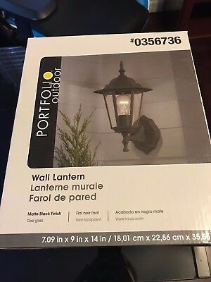 Portfolio Outdoor Wall Light Lantern #0356736, New in Box