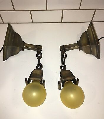 Antique Mission/Arts & Crafts Square Brass Wall Sconces Wired Pair 24D