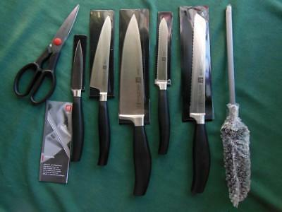 HENCKELS ZWILLING FIVE STAR 7pc KITCHEN KNIFE SET CUTLERY CHEF UTILITY SCISSORS+