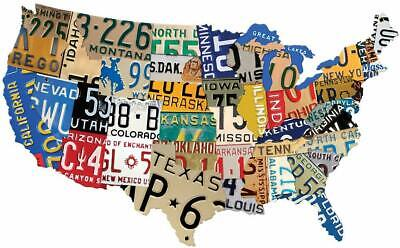 USA Map Metal Vintage United States License Plate Garage Retro Art Wall Decor