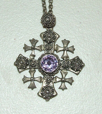 Antique Sterling Silver Jerusalem Holy Land Filigree Cross Amethyst Alexandrite