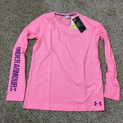 new NWT girls youth under armour long sleeve shirt pink Y XL extra large 1294098