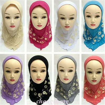 Islamic Girls Kids Muslim Pretty Hijab Islamic Arab Scarf Shawls Flower Pattern