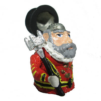 Tipping Hat Beefeater Thimble Tower of London Guard Hand Painted Pewter England