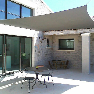 Gray Custom 5 12FT Rectangle Waterproof Sun Shade Sail Garden Pool Patio  Cover