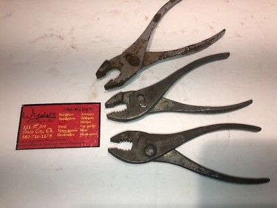 """Lot Of 3 Vintage Cee Tee Co. 6 1/2"""" Slip Joint Pliers"""