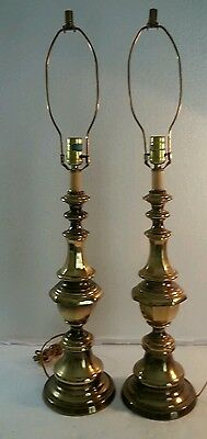 RARE Vintage Pair of Polished Brass Hollywood Regency MCM Table Touch Lamps