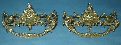 "ANTIQUE PAIR OF SOLID CAST BRASS PIERCED DRAWER PULLS 4 1/4""L x 2 1/4""H x 3""OC"