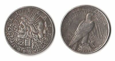 1923 Peace Dollar Hobo Nickel Style Skull Zombie Skeleton Fantasy Novelty Coin
