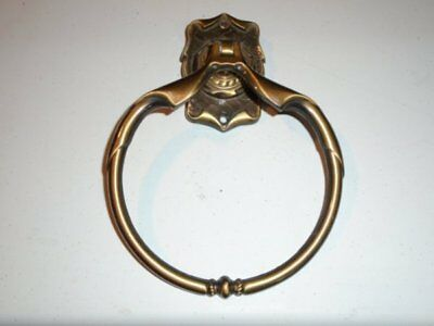Vtg Amerock Carriage House Antique English Brass Towel Ring VGC