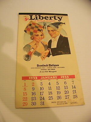 Liberty A Weekly For Everybody Calendar 1933 78 Grandma's Antiques Canoga Park