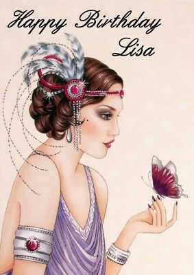 personalised birthday card art deco lady any name/age/relation
