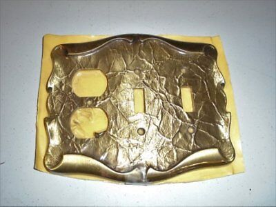 NIP NOS Vtg Amerock Carriage House Brass Double Switch & 2 Outlet Plate VGC