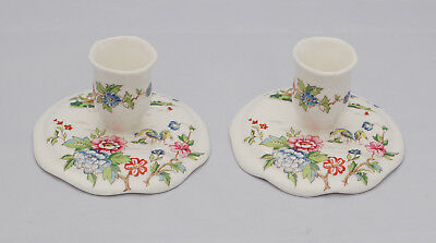 Vintage PAIR CROWN STAFFORDSHIRE BONE CHINA PAGODA PATTERN CANDLE HOLDERS