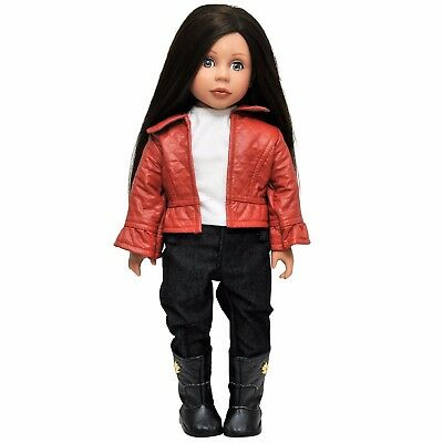 """Doll Clothing Fits 18"""" American Girl """"Leather"""" Jacket, Pants, Shirt Clothes #RSO"""