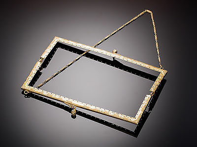 Antique 1920's Gold Plated Sterling Silver Purse Frame W/original Chain
