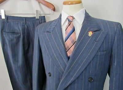 Vtg 1940s Double-Breasted Wool Pinstripe 2pc Suit 38 S ~ jacket / pants WWII Era