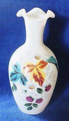 """Beautiful 10 1/2"""" Mid Century Blown Milk Glass With Hand Painted Flowers, Leaves"""