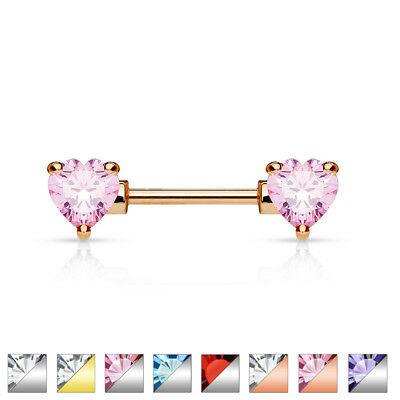 Front Facing Double CZ Heart Nipple Bar With 316L Surgical Steel Barbell