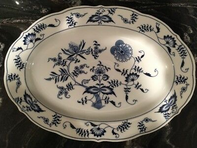 """One BLUE DANUBE Onion China 14"""" Oval Serving Platter Rectangle Japan"""