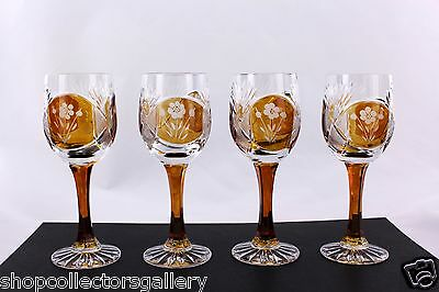 Set Of 4 Bohemian Amber Cut To Clear Floral Pattern Wine Stem Glasses - Mint