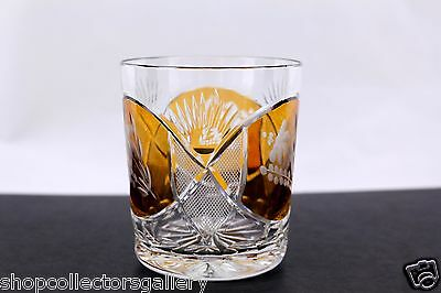 Bohemian Amber Cut To Clear Floral Pattern Old Fashioned Glass - Mint
