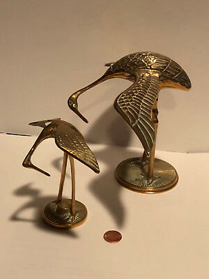 Pair of Brass Cranes with Patina Art Birds Christmas Gift