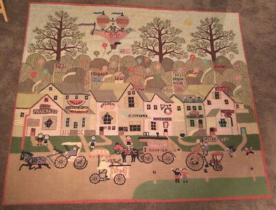 Tapestry Wall Panel Americana Art Balloon Lg Wool Pictorial Crewel Chain Stitch