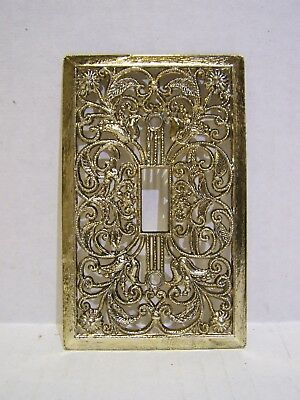 Vintage Filigree Toggle Switch Cover Plate – Shiny White Gold – No FoilBack