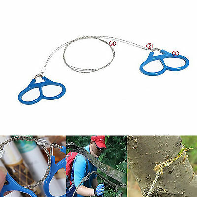 Stainless Steel Wire Saw Camping Emergency Chain Saw Survival Tool Gear Blue 1pc