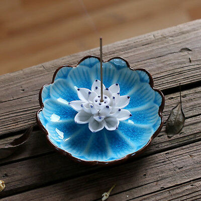 Ceramic Flower Lotus Petal Incense Burner Buddhist Stick Holder Censer Plate AU
