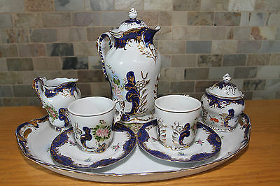 Vintage Excellent Quality Limoges Imitation Tea Set with Tray (6 pieces, c.1970)