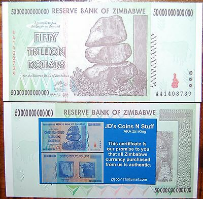 Zimbabwe 50 Trillion | Coa Included | Circulated | 2008 Aa | 100% Authentic