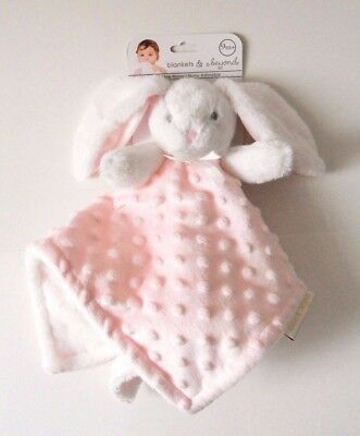 Blankets & and Beyond White Bunny Pink Dot Security Blanket Baby Lovey Nunu NWT