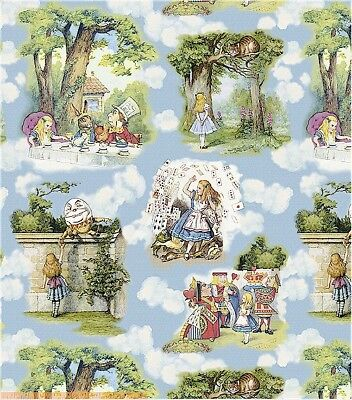 Alice in Wonderland Fabric John Tennial Blue for Charater TOILE HTF Windham OOP