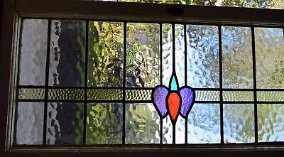 Antique Leaded English Stained Glass Huge Window Wood Frame England Old House 62