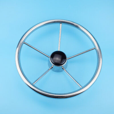 Marine 13-1/2'' Boat Steering Wheel Polished Stainless Steel 5 Spoke 25 Degree