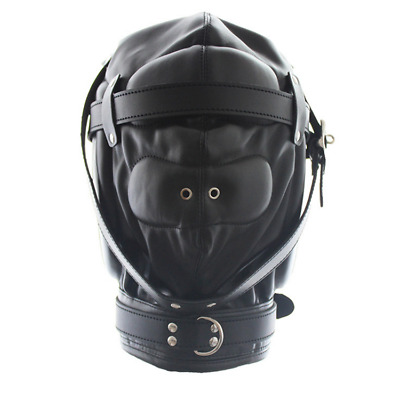 Soft Leather Gimp Bondage Hood Sensory Breathable Mask Fetish Blindfold Lockable